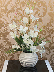"18""H White Purple Orchid Arrangement with Ball Vase"