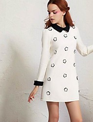 Women's Going out Dress,Color Block Above Knee Long Sleeve White / Yellow Cotton Spring / Fall / Winter