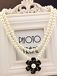 MIKI Stack Pearl Floral Necklace