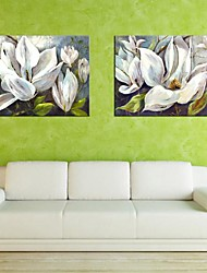 Stretched Canvas Art White Flowers Set of 2