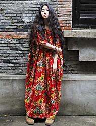 De las mujeres Corte Ancho Vestido Vintage Floral Maxi Escote Redondo Lino