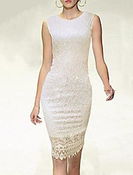 Women's Solid/Lace White/Black Dress , Sexy/Casual/Party/Work Crew Neck Sleeveless