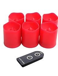 Set of 6 Red Color Plastic LED Votive Candles with Remote