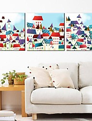 Stretched Canvas Art Colored Houses Set of 3