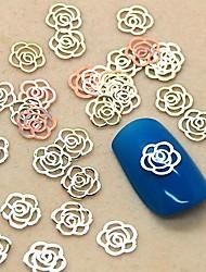 200pcs hohlen Blütenform goldenen Metall-Scheibe Nagelkunstdekoration
