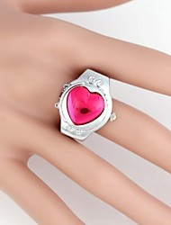 Gem metal reloj de cuarzo de las mujeres en forma de corazón analógica Ring (1 unidad)