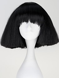 Lady Gaga Capless Fashion Short Straight Black Synthetic Wig