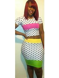 Mujeres de colores de dos piezas de punto de impresión del vendaje de la falda de traje (camisa y pantalones)