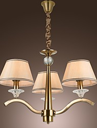 Vintage Chandelier, 3 Light, Classic Fabric Metal Painting