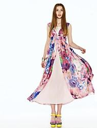 Women's Dress , Chiffon/Polyester Asymmetrical/Maxi Sleeveless