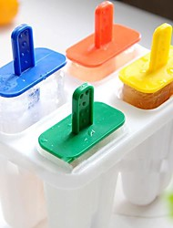 """Four Color Cute Ice Cream Tray Cube Mould Mold with Stick(Random Color),Plastic 5.72""""X3.48""""5.08"""""""