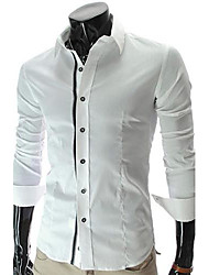 Men's Solid Casual Shirt,Polyester Long Sleeve Black / White