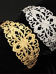 U7® Vintage Hollow Flower 18K Chunky Gold Filled Platinum Plated Cuff Bracelet Bangle for Women