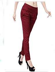Women's Red/Black/Brown/Green Harem Pants , Casual