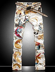 Men's Fashion Flower Painted Pattern Print Denim Jeans