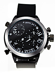 Shinuo Men's All Match Waterproof Three Timezone Quartz Watch