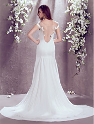 Trumpet/Mermaid Plus Sizes Wedding Dress - Ivory Court Train Off-the-shoulder Satin Chiffon