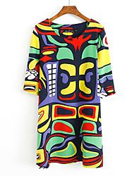 Xinying Women's Loose Fit Print Dress