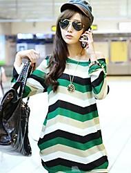 kvinnors rund hals långärmad stripe t-shirt