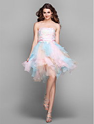 A-Line Strapless Knee Length Lace Tulle Cocktail Party Homecoming Prom Holiday Dress with Embroidery by TS Couture®