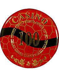 $ 100 blocage d'or arrondi puce de mahjong avec le signe anti-faux