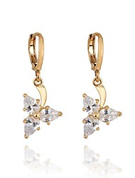 Women's New Arrival Gold Plated Fashion Triangular Design Zircon Earrings