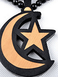 Fashion Hit Hip Hop Stars Moon Wooden Beads Brown Wood Pendant Necklace(1 Pc)