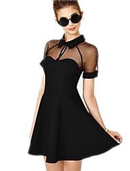 SY Lapel Chiffon Thin Wild Dress