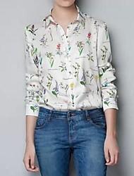 Normaal - Dun - Casual/Print/Werk - Blouse/Overhemd (Chiffon)met Lange mouw