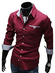 Duolunduo Men's Slim Inner Lining Check Patch  Long Sleeve Shirt(Wine)