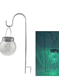 2-LED Color Changing Hanging Cracked Glass Ball Outdoor Garden Solar Light