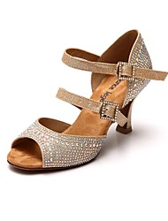 Women's Satin  Rhinestone Golden Heels Latin Dance Shoes Sandals