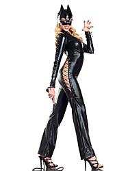 Fiesta de disfraces de Halloween Wild Catwomen Negro Cuero de la PU con cordones del estilo de las mujeres