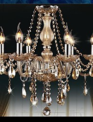 6 Lights,Modern Crystal Chandelier In Cognac Color  Metal & Glass