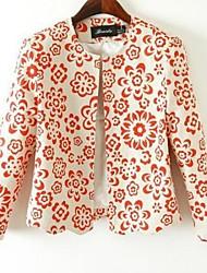 cuello redondo de las mujeres impreso traje de manga larga roja