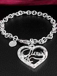 Glücklich Puppe Frauen Silber Heart-shaped Bracklet