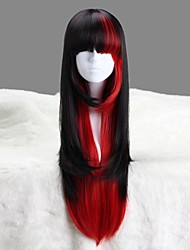 AYAMO Black and Red Long Wavy Synthetic Punk Lolita Wig