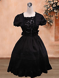 Short Sleeve Knee-length Black Cotton Classic Lolita Dress