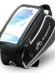 inbike 5,5 polegadas poliéster e saco da frente da bicicleta eva preto e cinza com pvc tela transparente celular palpável
