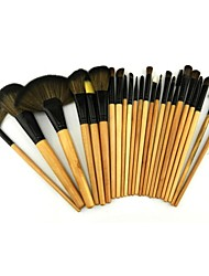24 Makeup Brushes Set Pony / Horse Wood Face / Lip / Eye