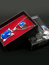 Kuroshitsuji Ciel Phantomhive Collana Zaffiro + Set Rings Black Accessori Cosplay Butler