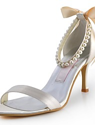 Satin Women's Wedding Stiletto Heel Open Toe Pumps/Heels With Rhinestone Shoes(More Colors)