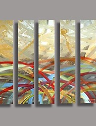 Hand Painted  Oil Painting Modern Abstract with Stretched Frame Set of 5