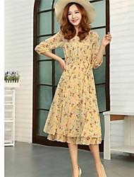 longo moda impressão chiffon vestido de uma peça feminina