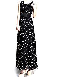 Ouli Women's Off the Shoulder Chiffon Maxi Black Dress with Belts 8091