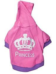 Bella Princess Crown Lettera Style Stampa con T-shirt in cotone con cappuccio per Animali Cani (assortiti Size)