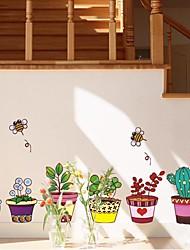 Createforlife® Cartoon Pot Flower Line Kids Nursery Room Wall Sticker Wall Art Decals
