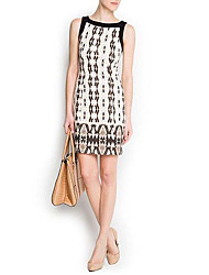 Queen&Co Elegant Serpentine Print Sleevless Dress