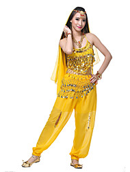 Performance Women's Silk Belly Dance Outfit-Including Headpiece,Veil,Belt,Top,Bottom(More Colors)