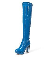 De lakleder vrouwen dikke hak platform over de knie laarzen (meer kleuren)